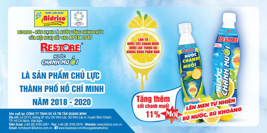 nuoc chanh muoi Restore - san pham chu luc HCM