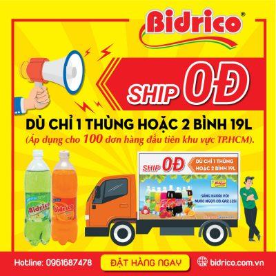 ship 0đ khi mua 1 thùng nước ngọt có gaz bidrico