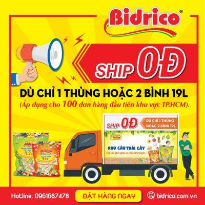 miễn phí vận chuyển khi mua 1 thùng rau câu trái cây Bidrico